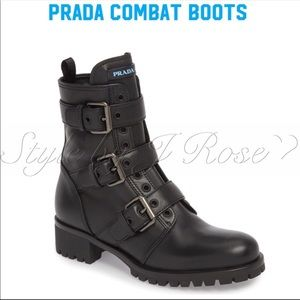 AUTHENTIC Prada Leather Combat Boots